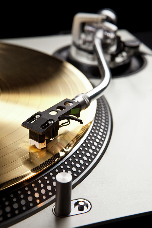 Vertical Photograph - A Gold Record On A Turntable by Caspar Benson