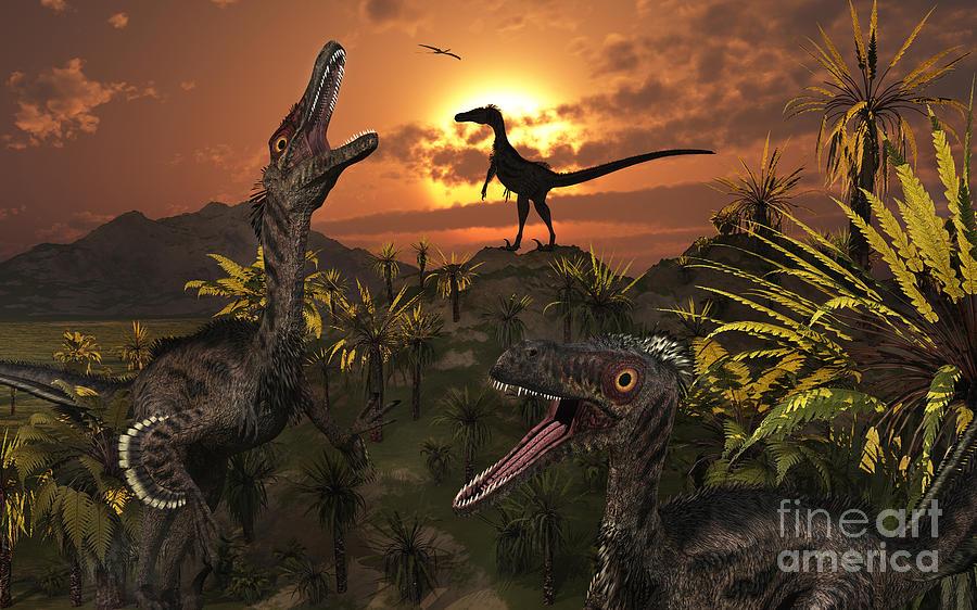 Danger Digital Art - A Group Of Feathered Carnivorous by Mark Stevenson