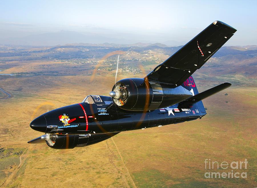 A Grumman F7f Tigercat In Flight Photograph By Scott Germain