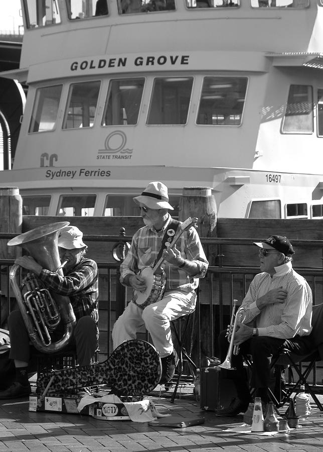 Black And White Photograph - A Harbor Concert by Tia Anderson-Esguerra