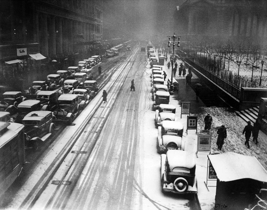 1930s Photograph - A Heavy Snowfall, 42nd Street, Looking by Everett