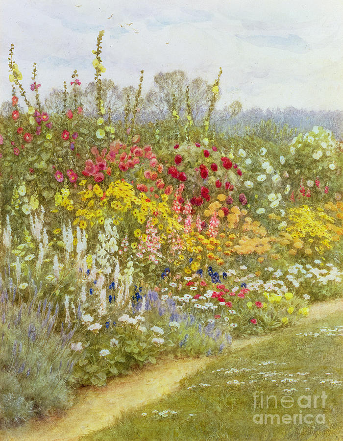 A Herbaceous Border Painting - A Herbaceous Border by Helen Allingham
