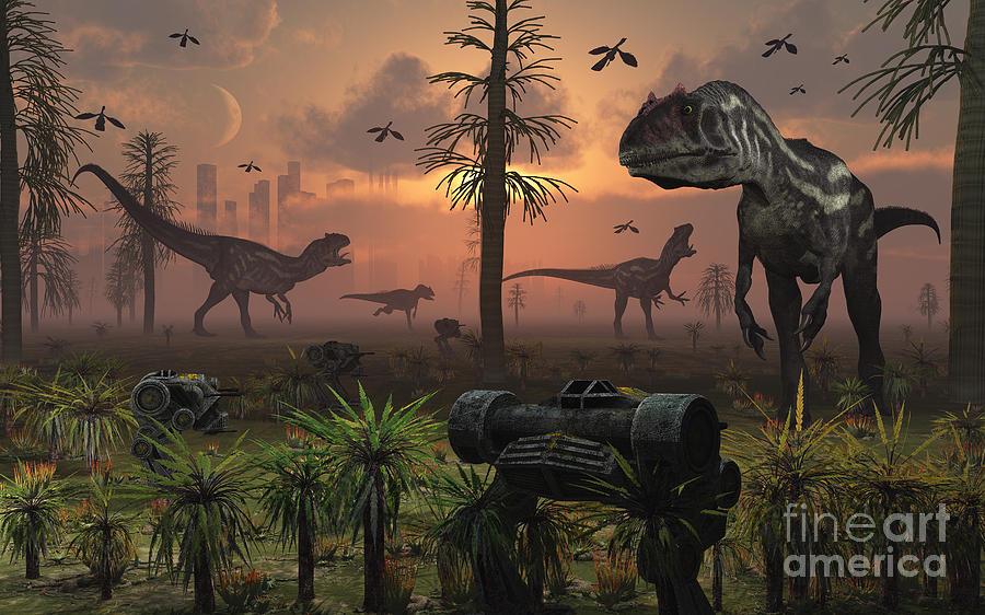 Paleozoology Digital Art - A Herd Of Allosaurus Dinosaur Cause by Mark Stevenson