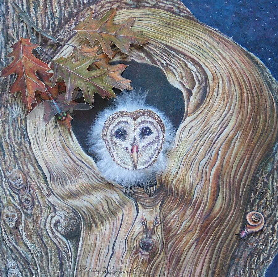 Bark Drawing - A Hoot And A Howl In The Bark by Melissa J Szymanski
