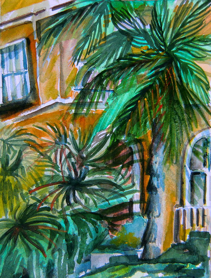 Palm Painting - A Hotel In Sorrento Italy by Mindy Newman