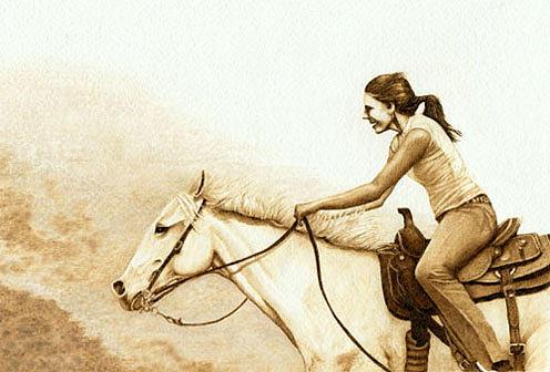 Horse Drawing - A Joyful Ride by Cate McCauley