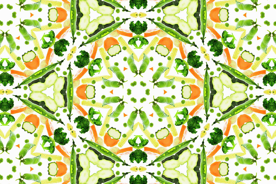 Horizontal Photograph - A Kaleidoscope Image Of Fresh Vegetables by Andrew Bret Wallis