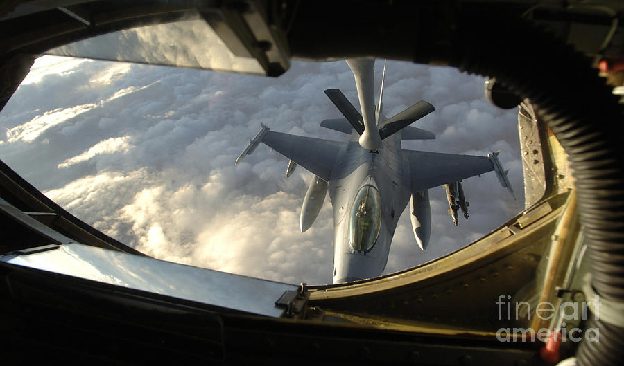 Horizontal Photograph - A Kc-135 Stratotanker Connects With An by Stocktrek Images