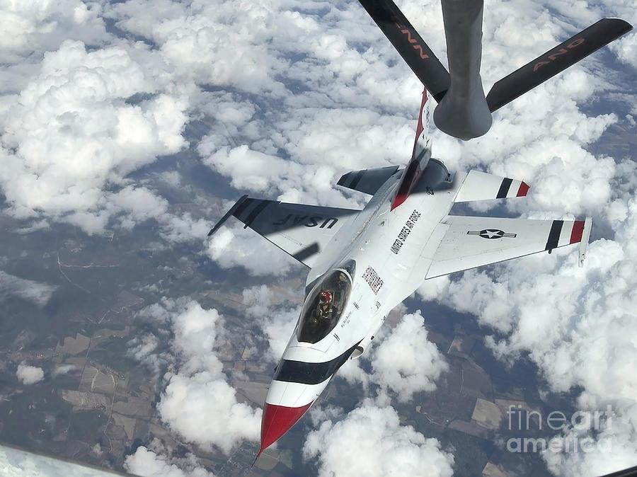 Color Image Photograph - A Kc-135 Stratotanker Refuels An Air by Stocktrek Images