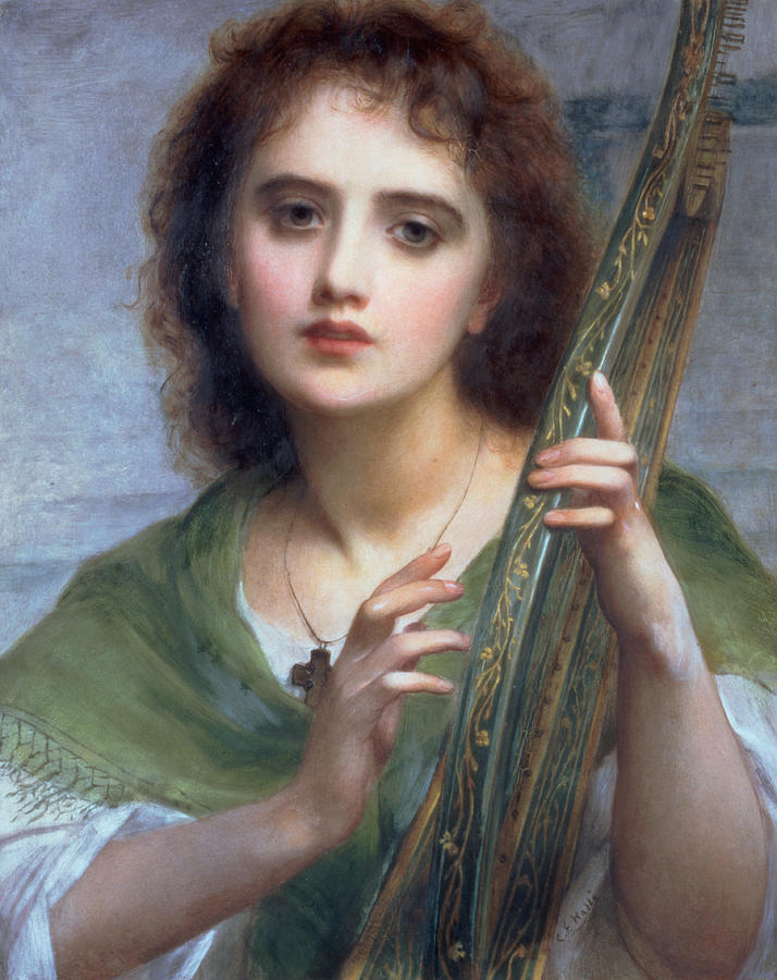 Charles Edward Halle Painting - A Lady With Lyre by Charles Edward Halle