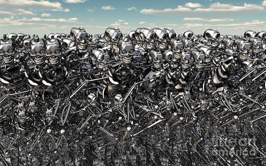 No People Digital Art - A Large Gathering Of Robots by Mark Stevenson