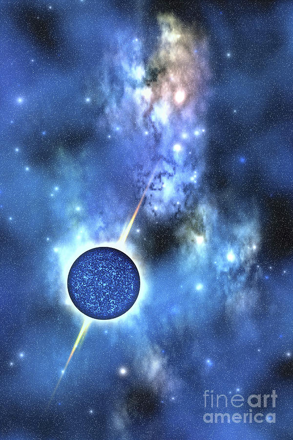 Neutron Stars Digital Art - A Large Star With Concentrated Matter by Corey Ford