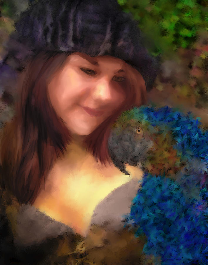 Digital Painting Digital Art - A Lass With Her Parrot by Jill Balsam