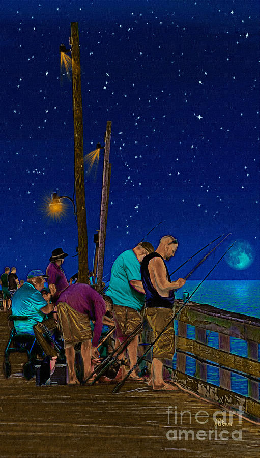 Rodanthe Painting - A Little Night Fishing At The Rodanthe Pier by Anne Kitzman