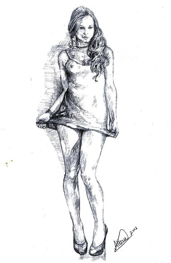 Female Drawing - A Little Teasing  by Alban Dizdari