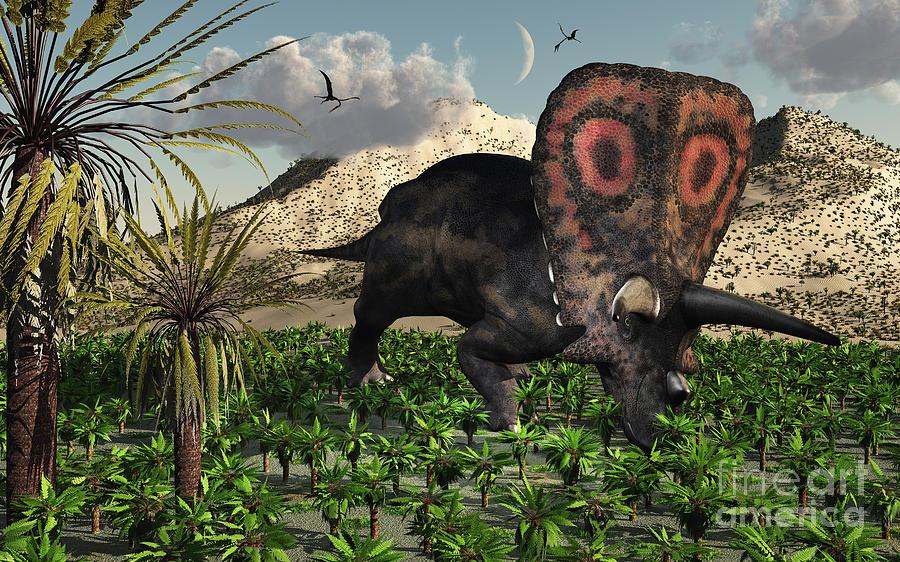 Imagination Digital Art - A Lone Torosaurus Dinosaur Feeding by Mark Stevenson