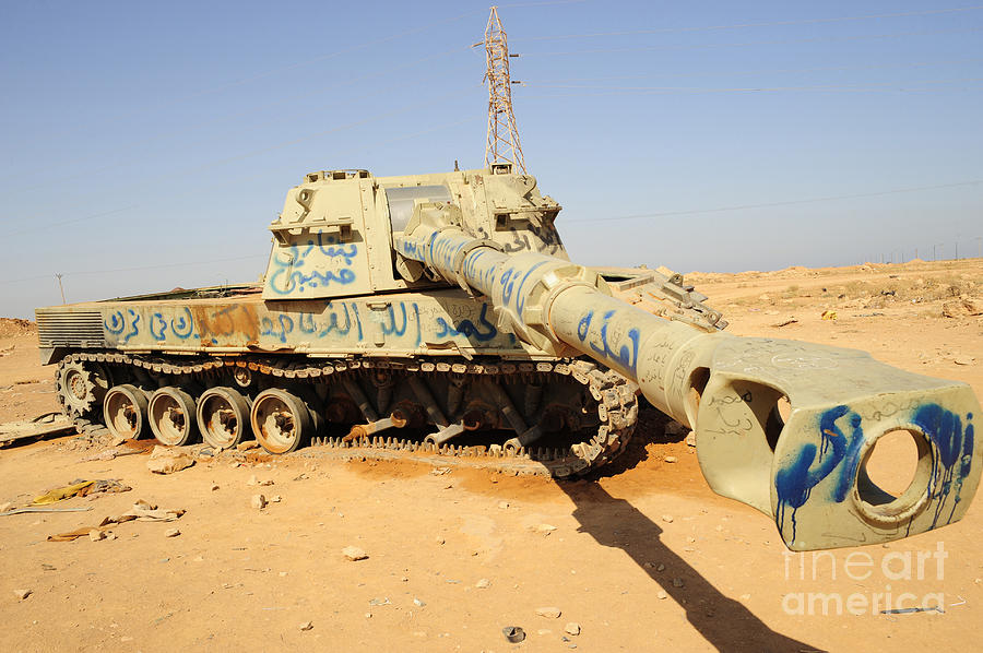 Libya Photograph - A M109 Howitzer Destroyed By Nato by Andrew Chittock