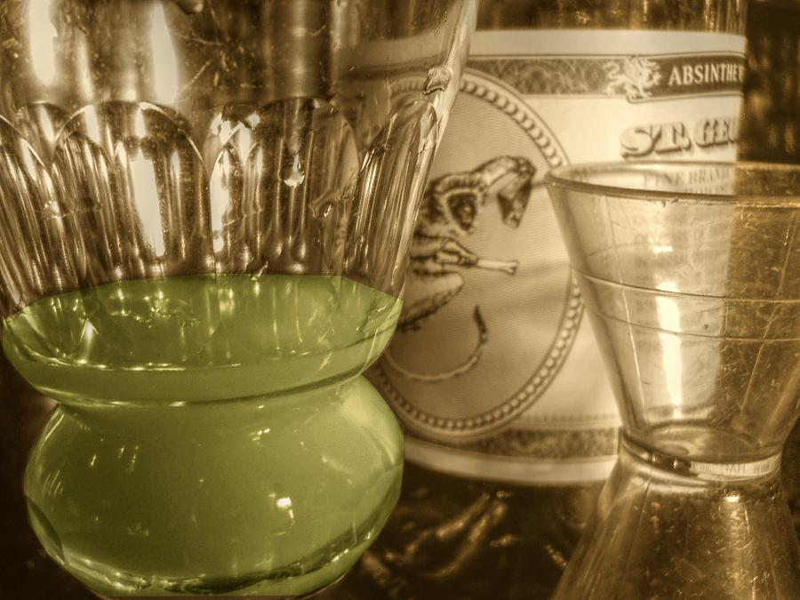 Sepia Photograph - A Macro Sepia And Green Of Absinthe by Jennifer Holcombe