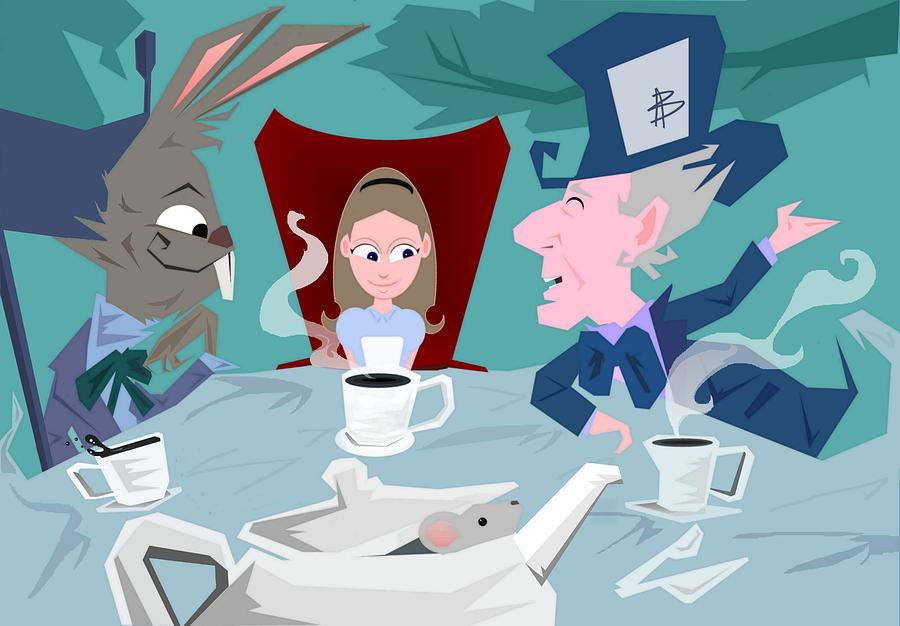 Alice In Wonderalnd~a Mad Tea Party Mad Hatter March Hare White Rabbit Lewis Caroll Fantasy Childrens Books Fairy Tales Doormouse Tea Raven Mad Tea Cups Tea Pot Unbirthday Chesire Cat Digital Art - a Mad Tea Party by Bryan  Rhoads