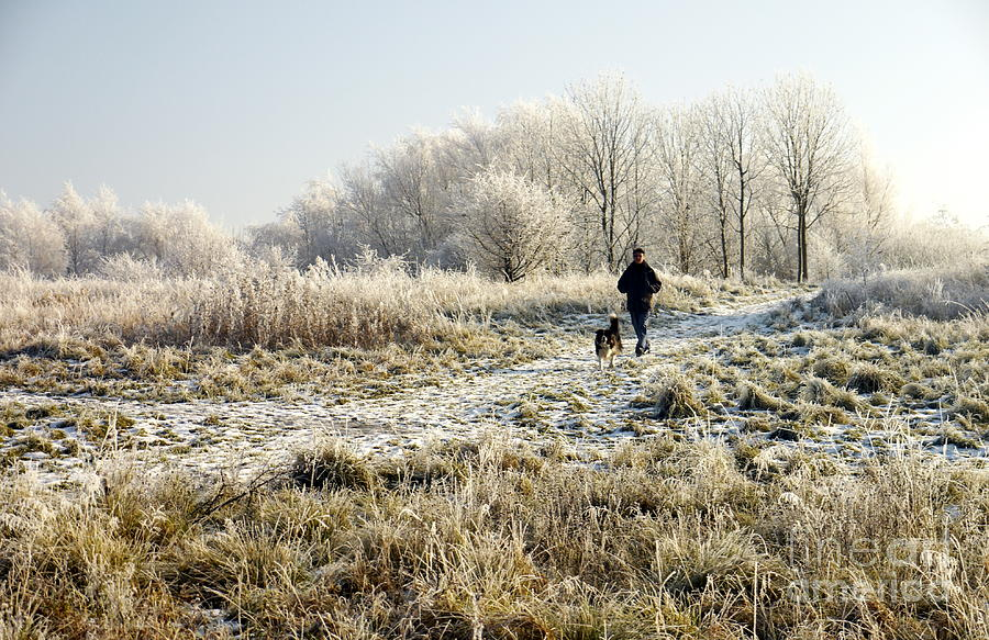 Man Photograph - A Man And His Dog by John Chatterley