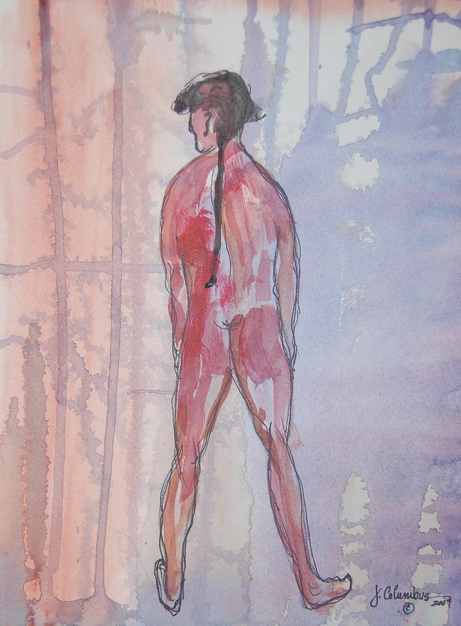 Nude Man Painting - A Man In The Garden by Janna Columbus
