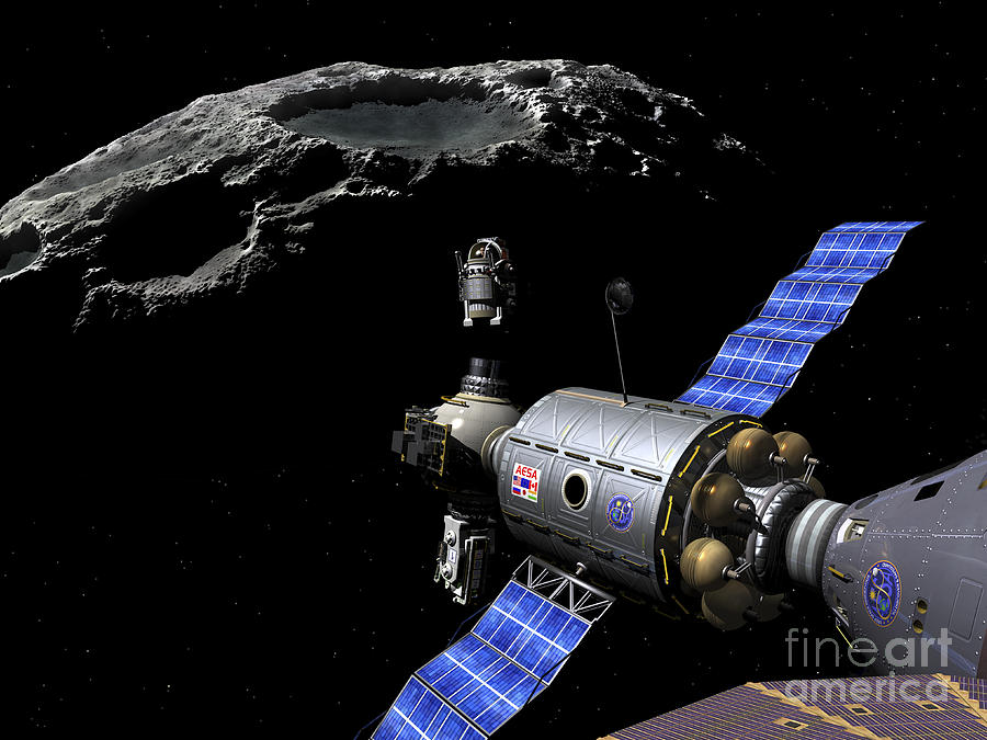 Space Exploration Digital Art - A Manned Maneuvering Vehicle Undocks by Walter Myers