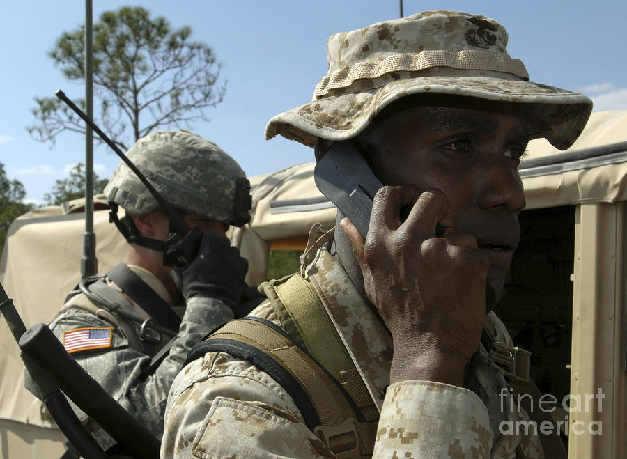 Antenna Photograph - A Marine Communicates With Aircraft by Stocktrek Images