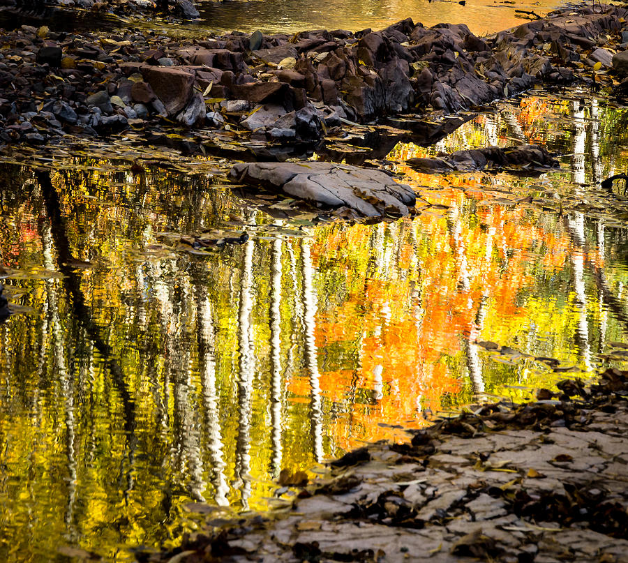 Reflection Autumn autumn Reflection fall Colors Duluth Nature Magical Serene amity Creek Minnesota fleeting Moment Photograph - A Moment Of Reflection by Mary Amerman