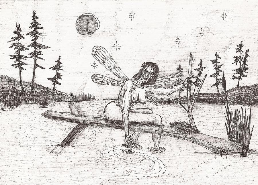 Fairy Drawing - A Moment With The Moon... - Sketch by Robert Meszaros