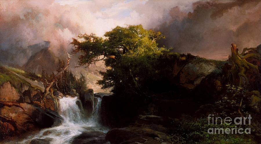 Streams Painting - A Mountain Stream by Thomas Moran