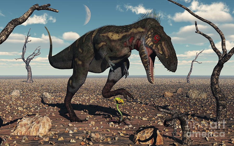 Dinosaur Digital Art - A Nanotyrannus Crushes The Last Flower by Mark Stevenson