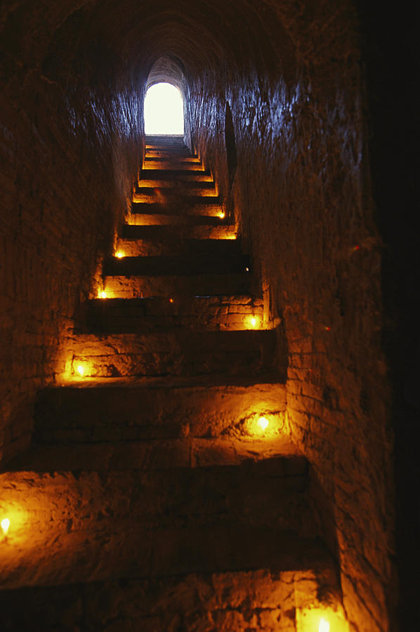 Asia Photograph - A Narrow Staircase Lit With Candles by Richard Nowitz