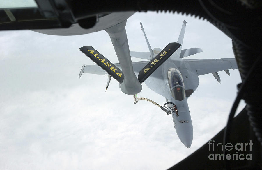 Color Image Photograph - A Navy Fa-18f Super Hornet Is Refueled by Stocktrek Images