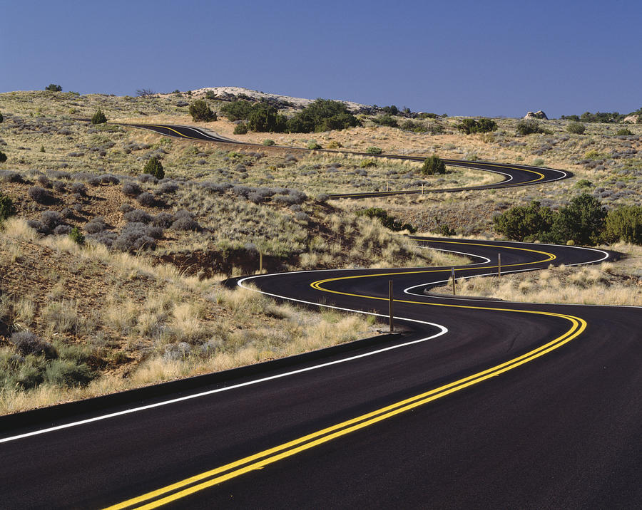 No People Photograph - A Newly Paved Winding Road Up A Slight by Greg Probst