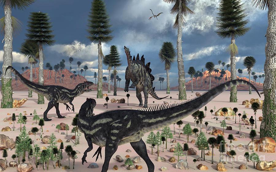 Primeval Digital Art - A Pair Of Allosaurus Dinosaurs Confront by Mark Stevenson