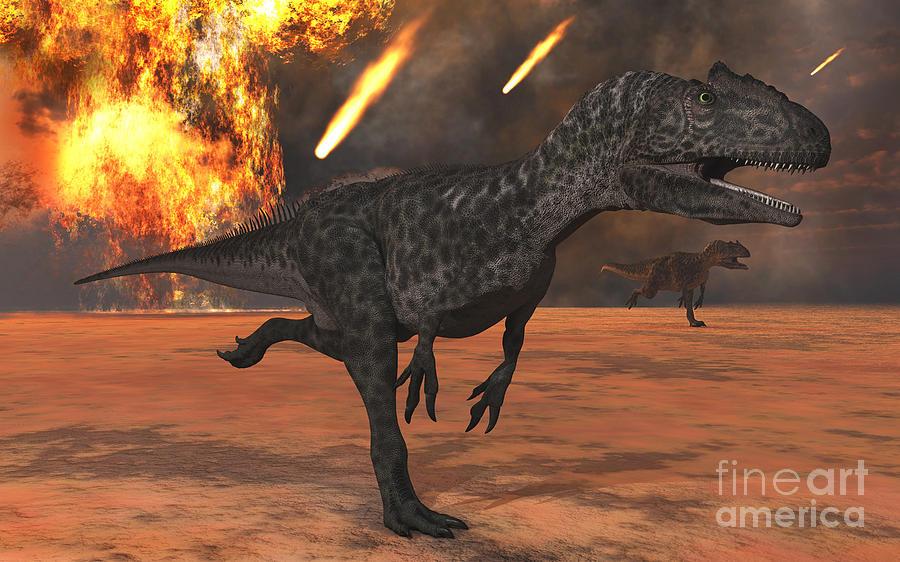 Jurassic Digital Art - A Pair Of Allosaurus Dinosaurs Running by Mark Stevenson