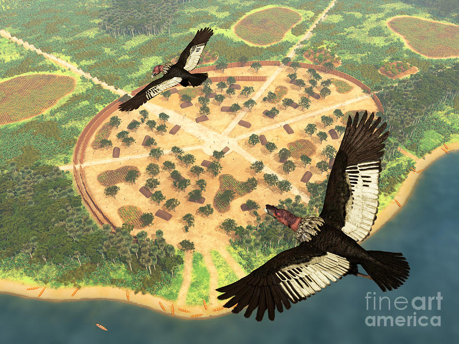 Earth Digital Art - A Pair Of Andean Condors Fly Over An by Walter Myers