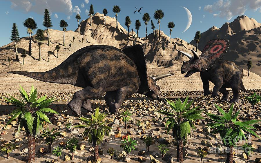 Digitally Generated Image Digital Art - A Pair Of Torosaurus Dinosaurs Fight by Mark Stevenson