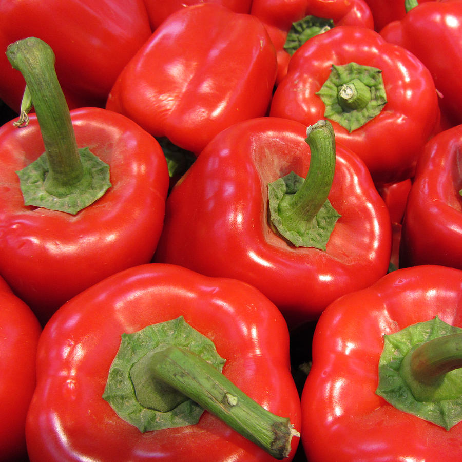 Red Photograph - A Peck Of Red Peppers by Kathy Clark
