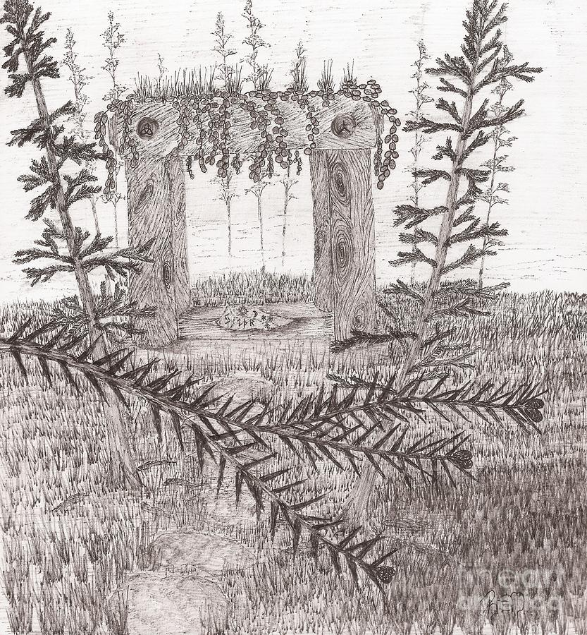 Shrine Drawing - A Place For The Old Gods... - Sketch by Robert Meszaros