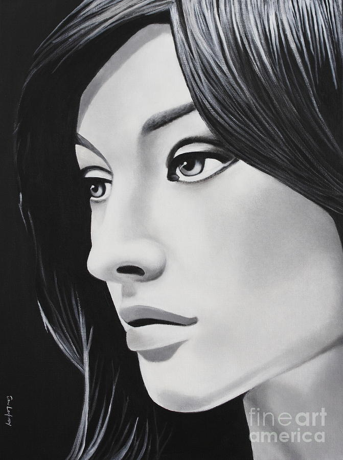 Black painting a portrait in black and white by dan lockaby