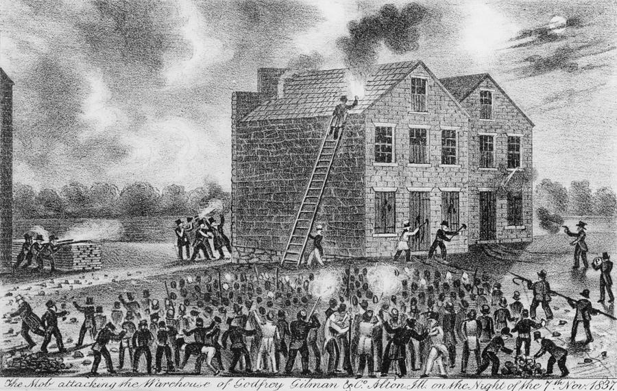 History Photograph - A Pro-slavery Mob Burning by Everett