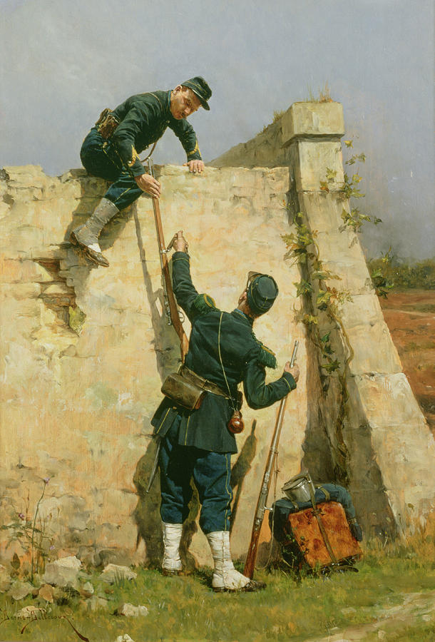 French Soldiers; Military; Rifle; Backpack; Climbing; Wall; Soldier; Uniform; Cap; Spats; Prison; Fleeing; Brothers In Arms; Fugitive; Army Painting - A Quick Escape by Etienne Prosper Berne-Bellecour