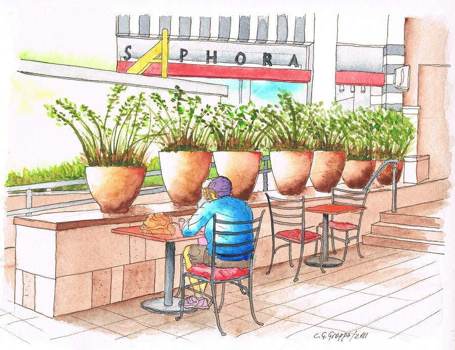 Shopping Center Painting - A Quiet Moment In The Manhatan Beach Mall, Califonia by Carlos G Groppa