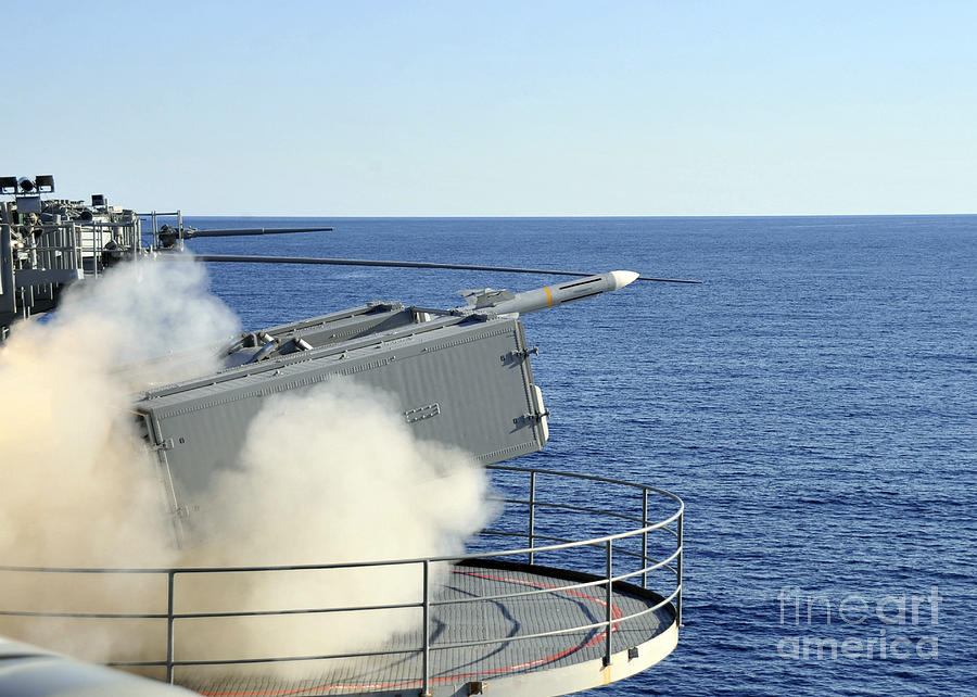 Uss Enterprise Photograph - A Rim-7 Sea Sparrow Is Launched by Stocktrek Images