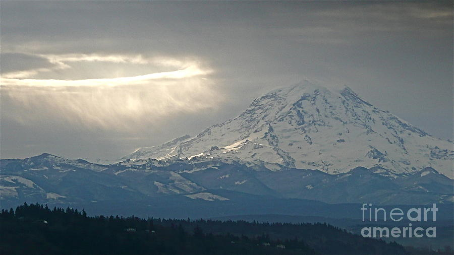 Sean Griffin Photograph - A Ring Of Bright Light Beside Mount Rainier by Sean Griffin