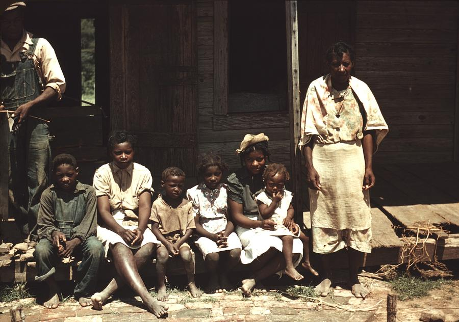 History Photograph - A Rural African American Family Seated by Everett