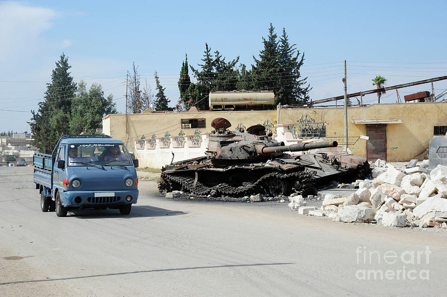 Free Syrian Army Photograph - A Russian T-72 Main Battle Tank by Andrew Chittock