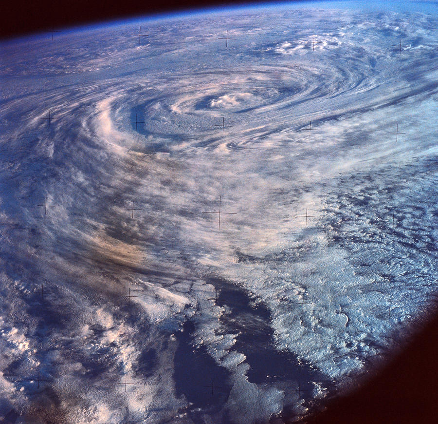 A Satellite View Of A Storm Formation Over Earth Photograph By - Satellite view