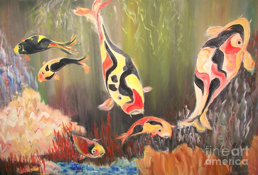 Fish Painting - A School Of Koi by Rachel Carmichael